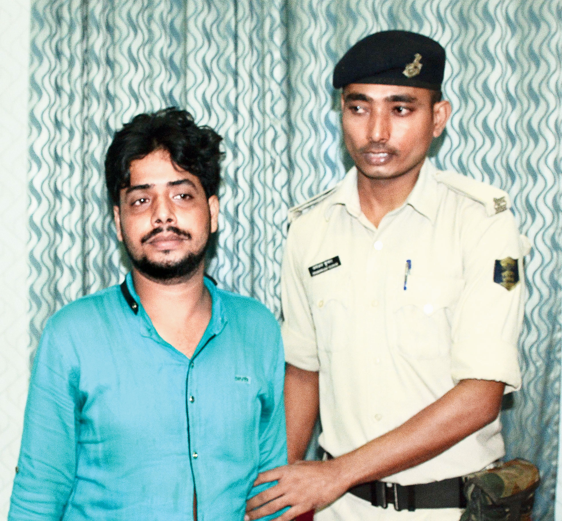 Farhan Alam in police custody on Friday.