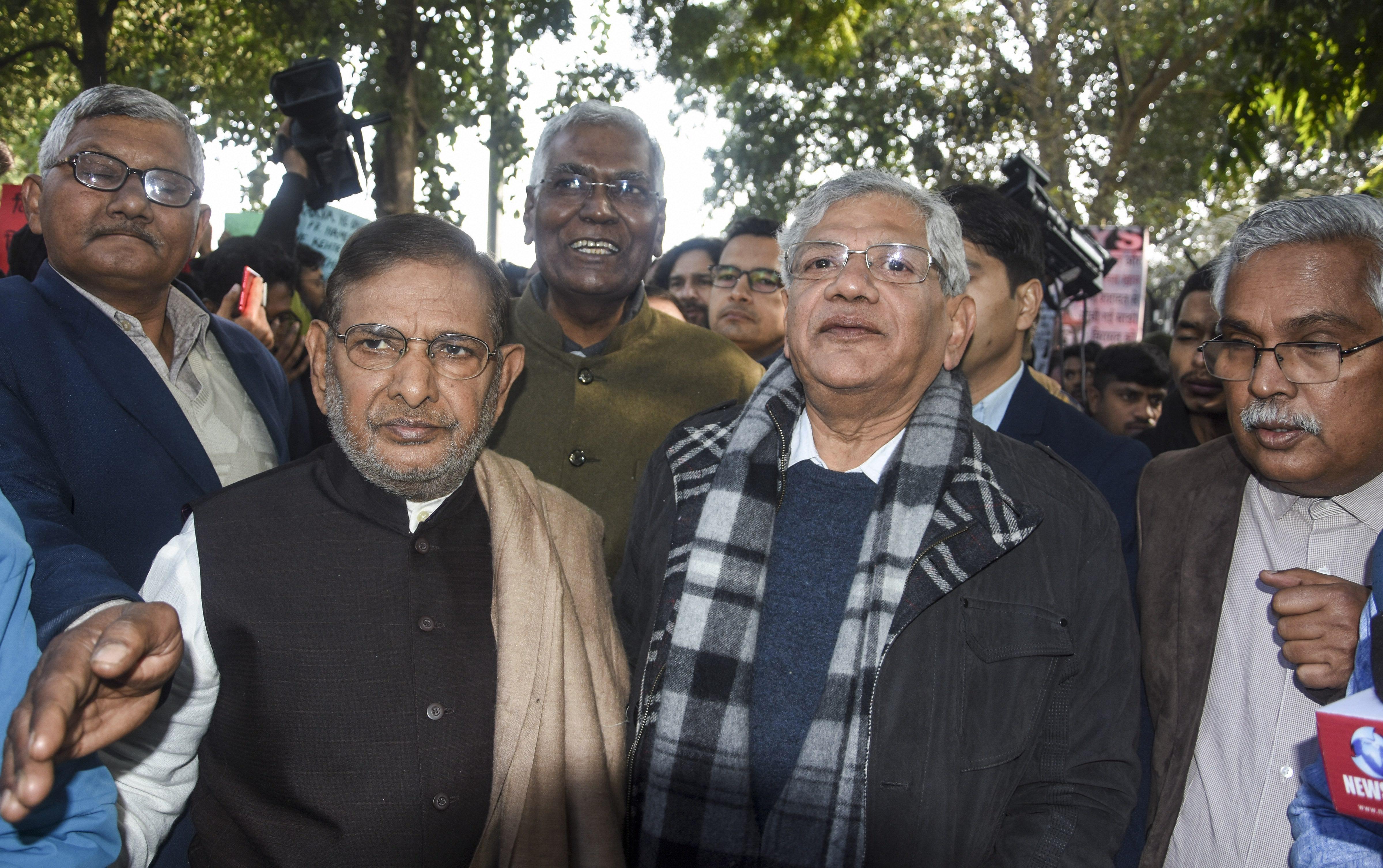 LJD leader Sharad Yadav, CPI(M) general secretary Sitaram Yechury and CPI general secretary D. Raja at the citizens' march at Mandi House in New Delhi on Thursday, Janaury 9, 2019
