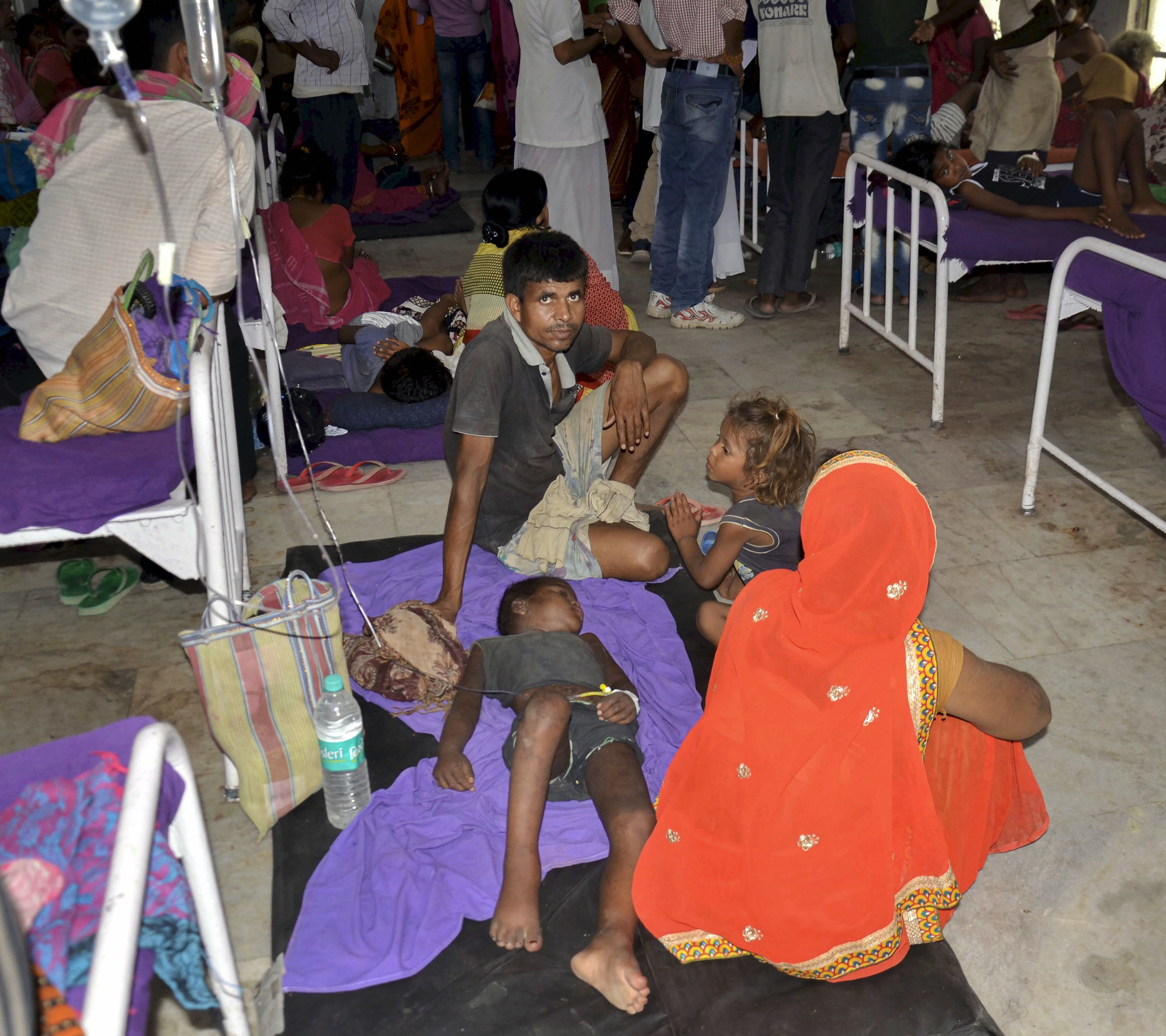 An overcrowded ward with children showing symptoms of Acute Encephalitis Syndrome at a hospital in Muzaffarpur on June 17.