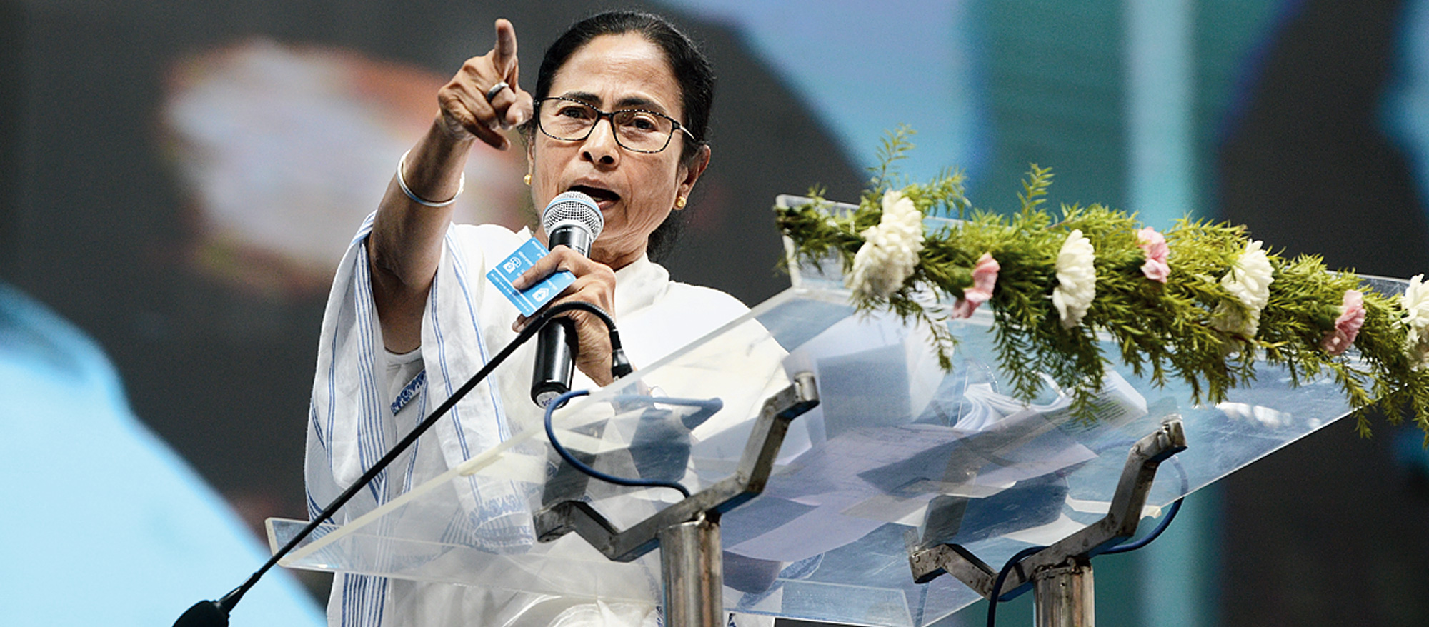 Mamata speaks at the government event in Tarakeswar, Hooghly, on Friday.