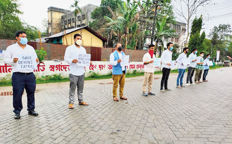 Lakhimpur Regional Students Union stages a protest to save Dehing Patkai wildlife sanctuary on Saturday.