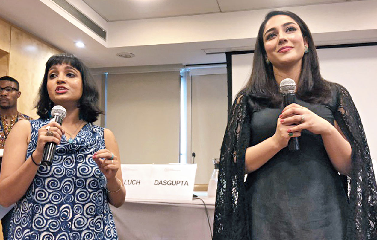 Rudrani Dasgupta from Calcutta and (right) Ramsha Baluch from Karachi at the voices of SDG16+ policy forum at the United Nations in New York.
