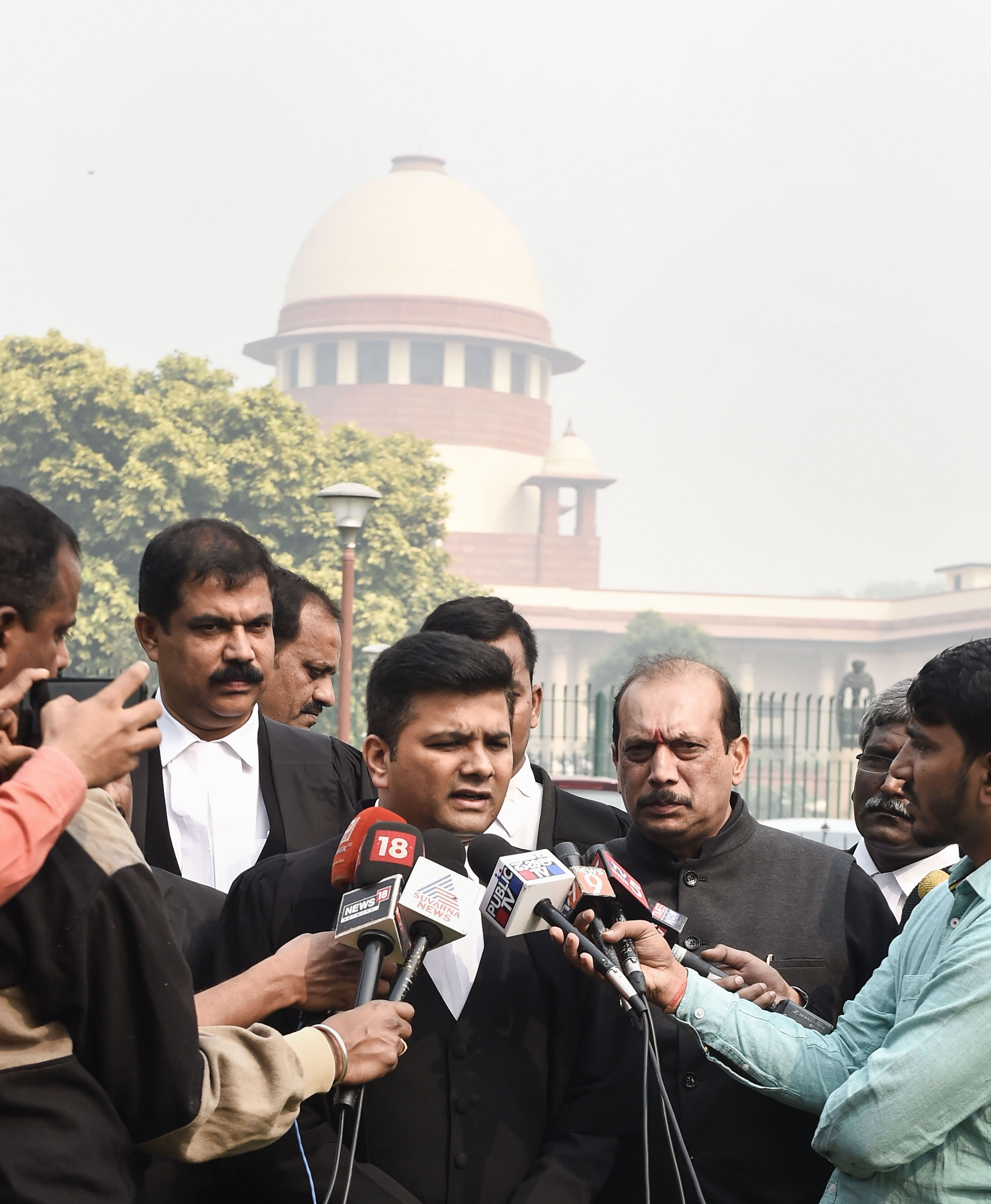 Advocate Sandeep Patil speaks to media persons after the Supreme Court announced its verdict on former Karnataka speaker's orders of disqualfying 17 MLAs, in New Delhi, Wednesday, November 13, 2019.