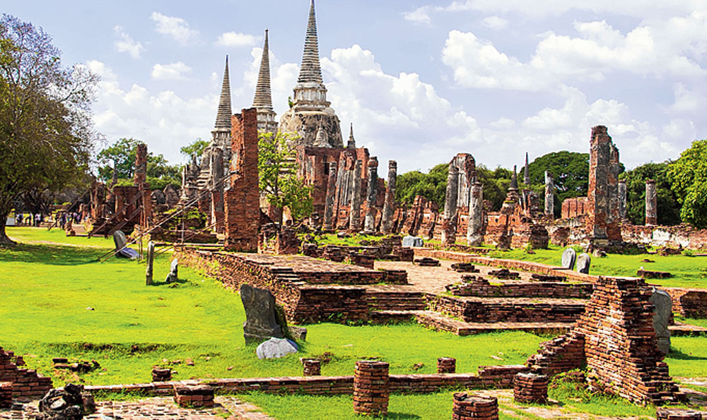 The ruins of a temple at the Ayutthaya Historical Park in Thailand. Ayutthaya (also spelt Ayudhya or Ayodhaya) was a Siamese kingdom that existed from 1351 to 1767.