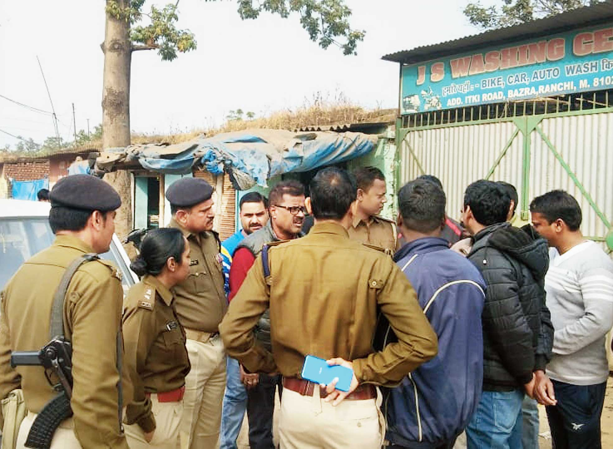 Police at the shooting site on the Ranchi-Gumla road on Sunday.