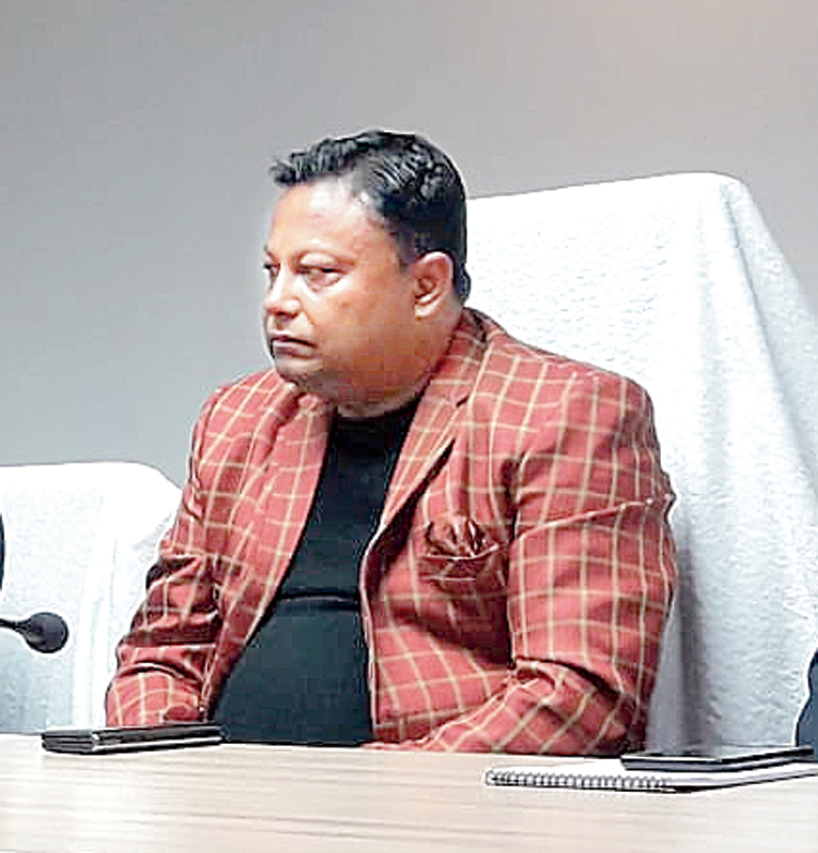 Anit Thapa at the meeting in Darjeeling on Wednesday.