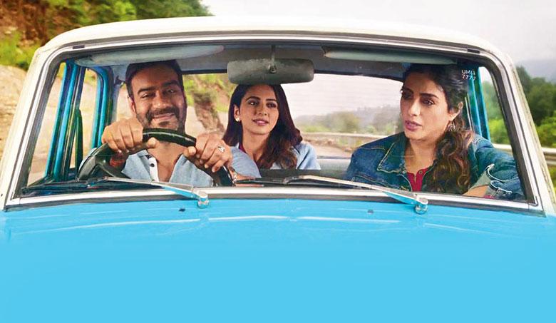 Ajay Devgn, Tabu and Rakul Preet Singh in a scene from De De Pyaar De