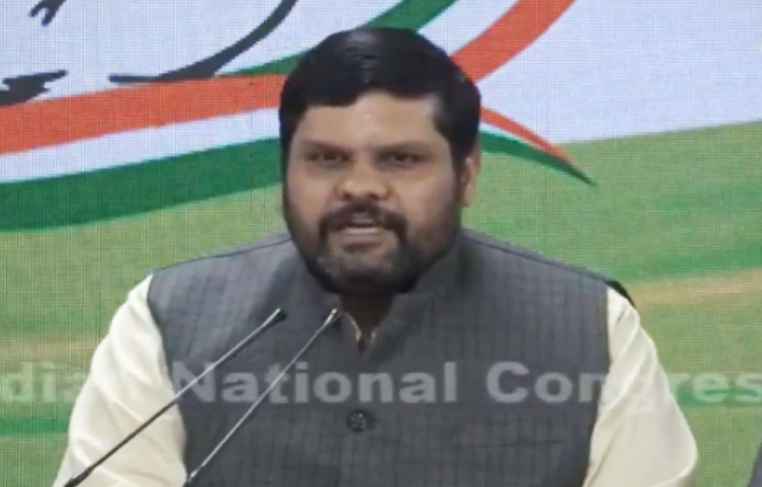 Congress spokesperson Gourav Vallabh at the media conference.