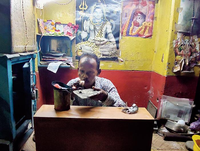 Paritosh Kar in his workshop in Bowbazar's Durga Pituri Lane on Thursday