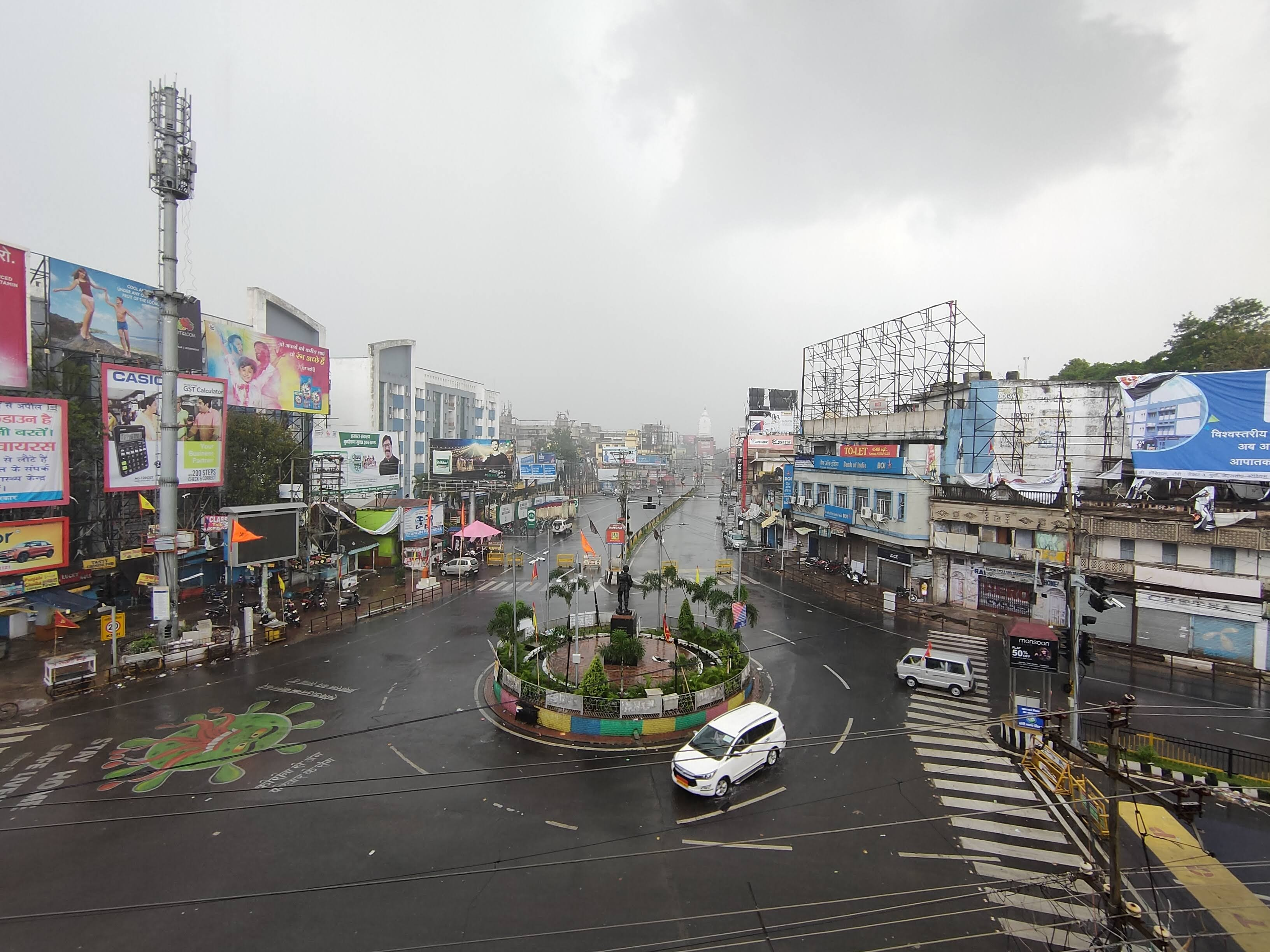 A deserted Albert Ekka Chowk in Ranchi on a typical day of lockdown.