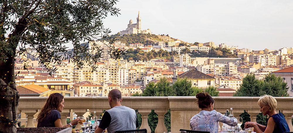 View of Notre-Dame de la Garde basilica from Hotel Dieu