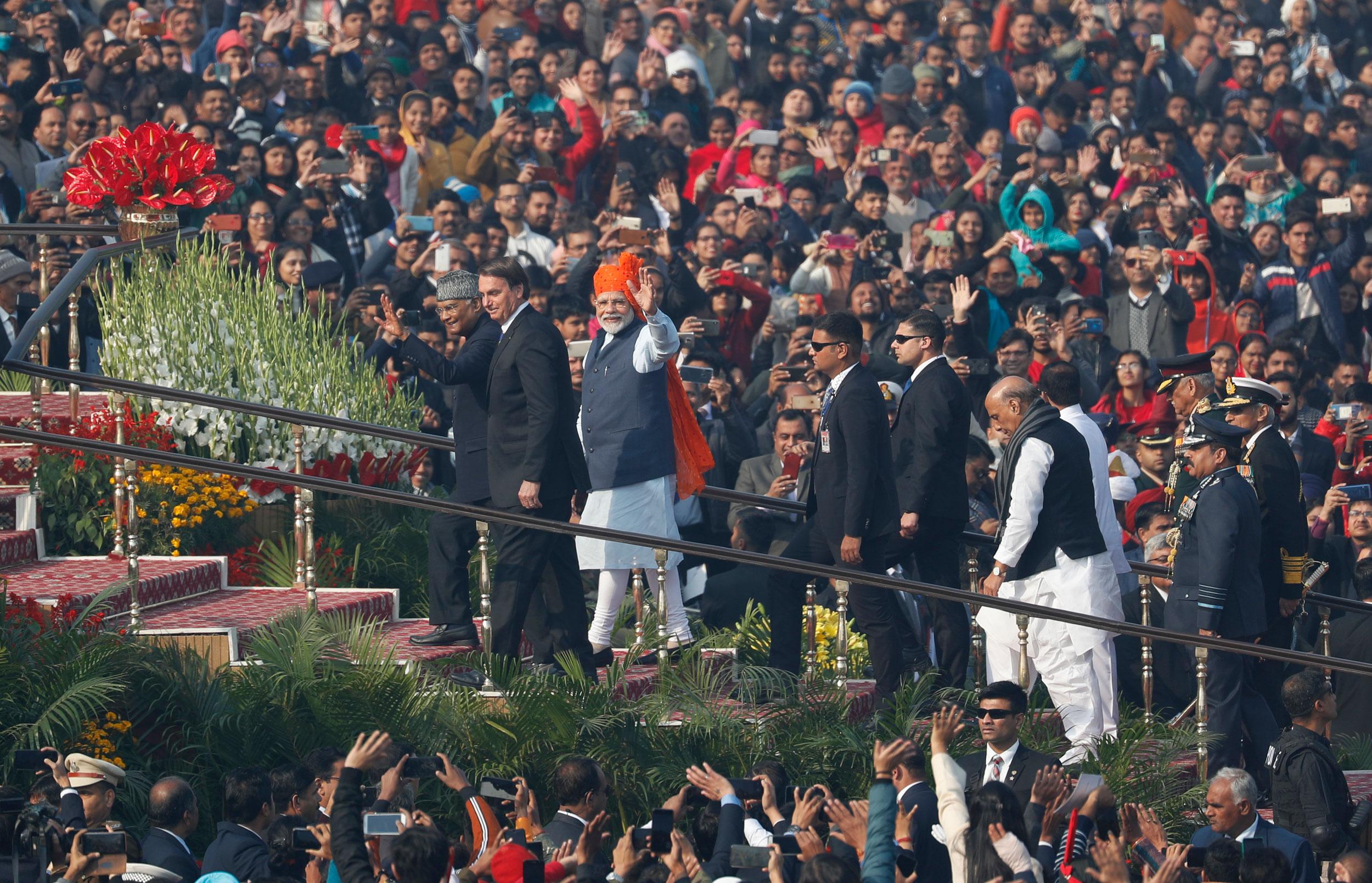 President Ram Nath Kovind, Brazilian President Jair Bolsonaro and Prime Minister Narendra Modi at the Republic Day Parade in New Delhi on Sunday.