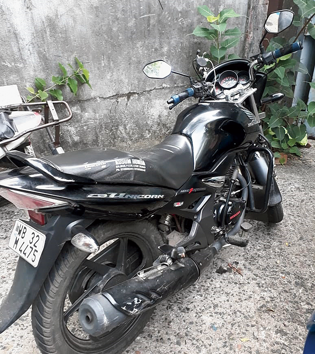 The motorcycle that Anukul Jana was riding when he was hit by a vehicle