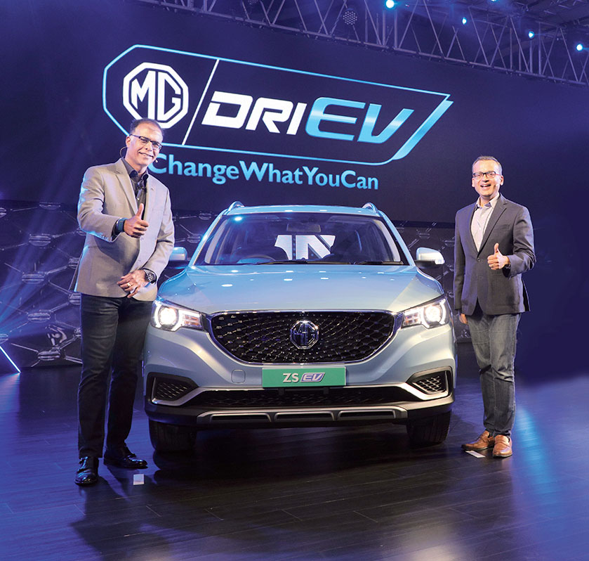 Rajeev Chaba, president and managing director of MG India, with Gaurav Gupta, vice-president, sales and marketing, in New Delhi on Thursday