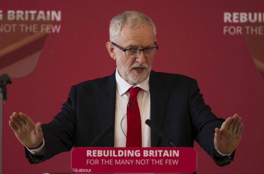 Britain's Opposition Labour Party leader Jeremy Corbyn during a speech at a Labour local government conference in Warwick, England, on Saturday.