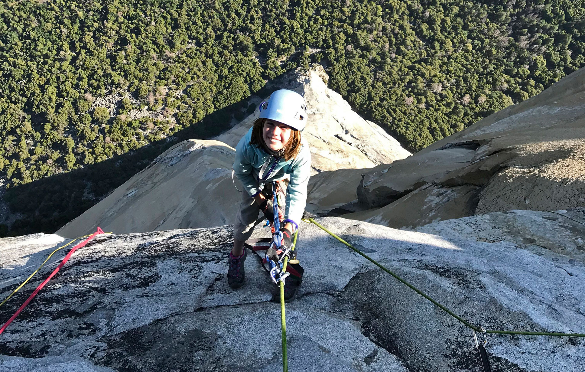 In this June 10, 2019, picture, Selah Schneiter poses during her climb up El Capitan in Yosemite National Park, California.