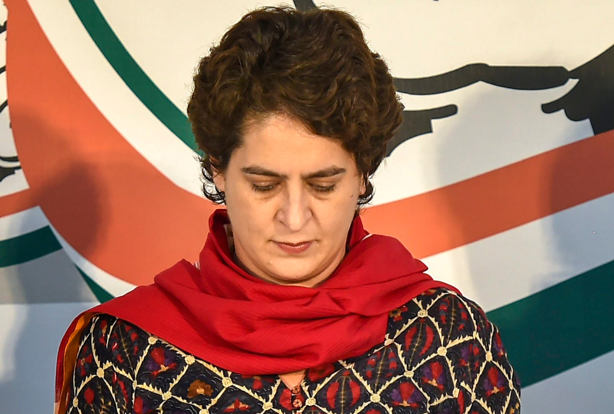 Congress general secretary Priyanka Gandhi Vadra observes a two minute silence over the Pulwama militant attack on CRPF convoy, at the party office in Lucknow on Thursday, February 14, 2019.