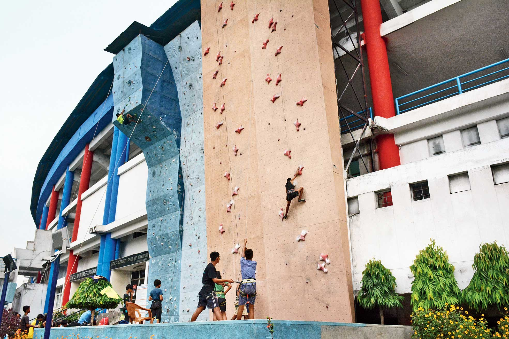 Trainees practise sport climbing at JRD Tata complex in Jamshedpur.