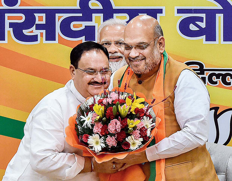 Nadda and Shah in New Delhi on Monday.