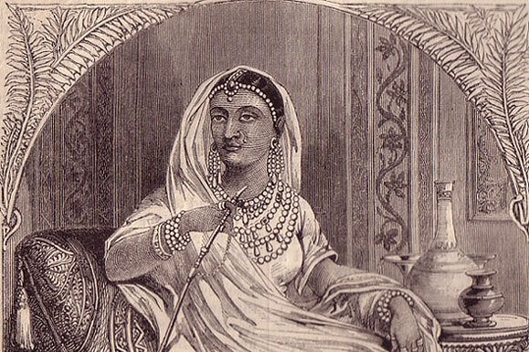 A portrait of Rani Lakshmi Bai from 'Chambers' History of the Revolt in India' (London, 1859)