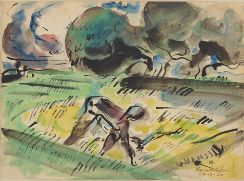 A watercolour drawing in Baij's expressionistic style