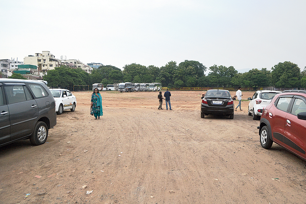 The landmark Aambagan grounds in Jamshedpur's Sakchi, converted into a paid parking lot,  on Tuesday