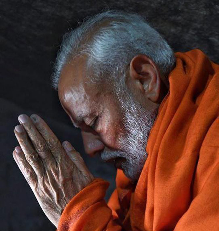 Prime Minister Narendra Modi in a holy cave near the Kedarnath Temple during his two-day pilgrimage to Himalayan shrines in Rudraprayag on Saturday
