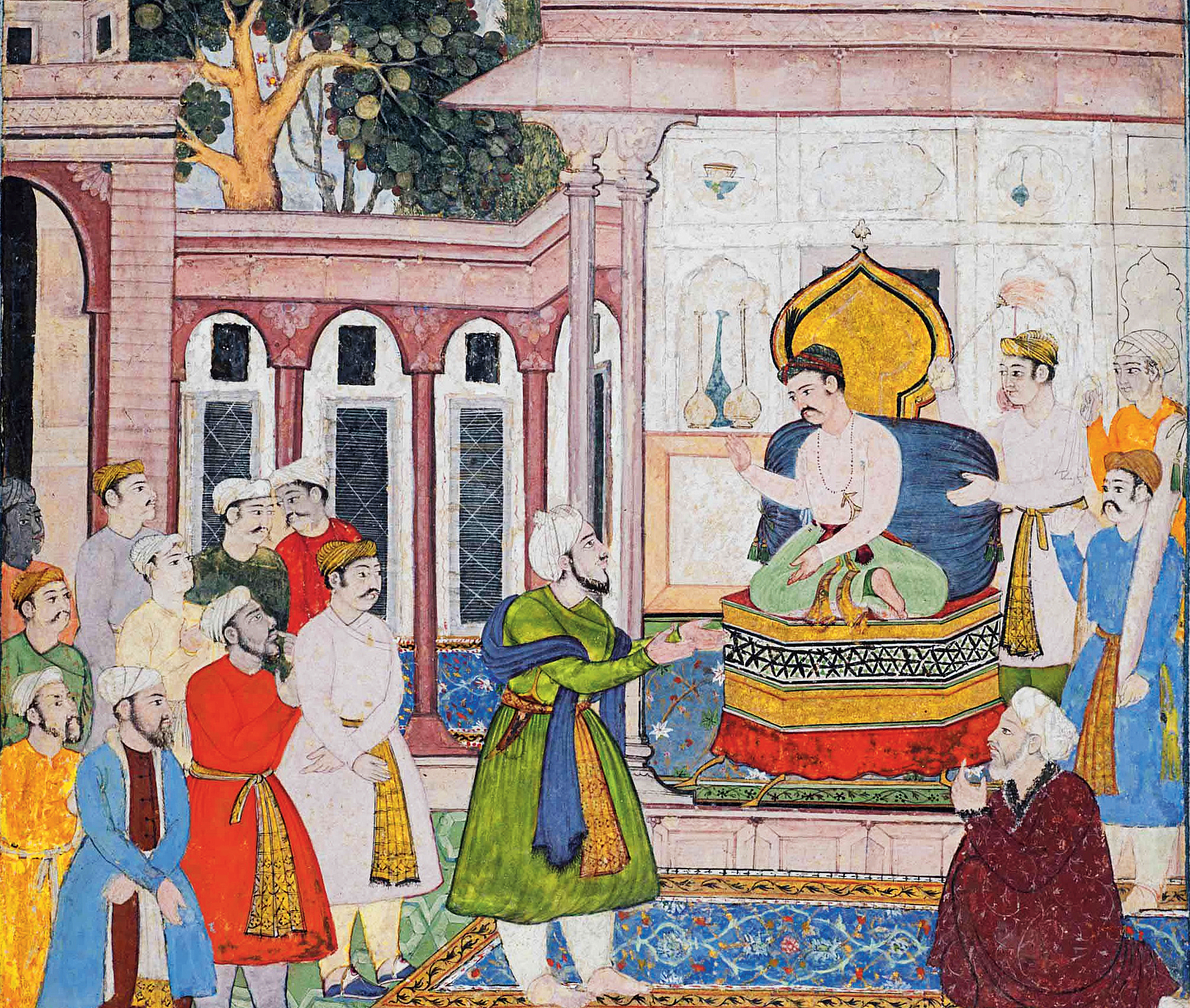 The Emperor Akbar is petitioned by a courtier, Circa 1590-95