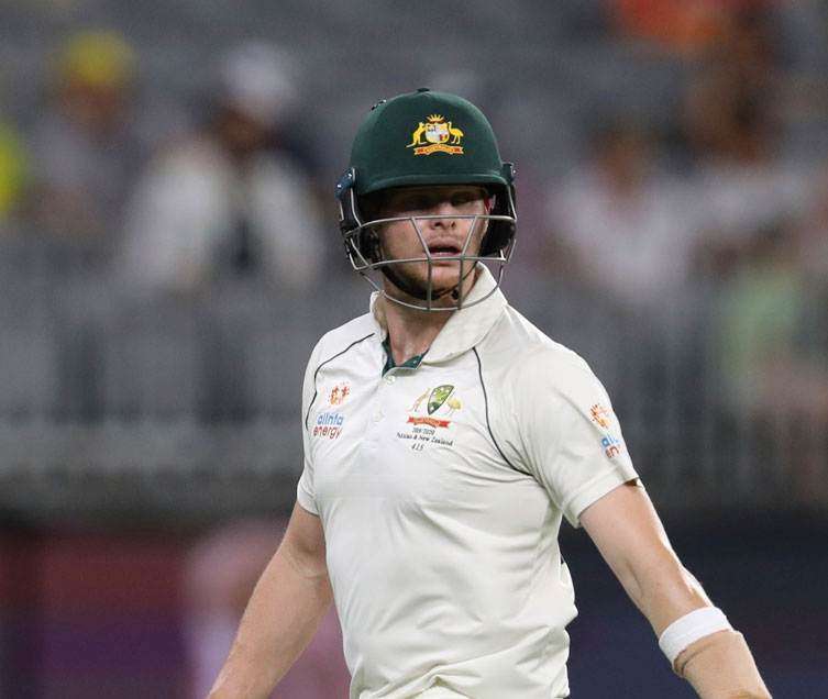 Australia's Steve Smith leaves the ground after being dismissed during play in their cricket test against New Zealand in Perth, Australia, Saturday