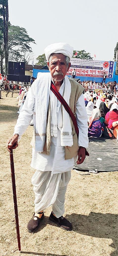 Bhuwaneswar Moran at a CAA protest rally in Upper Assam