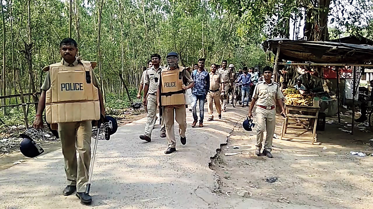 Police patrol Bakcha on Tuesday.