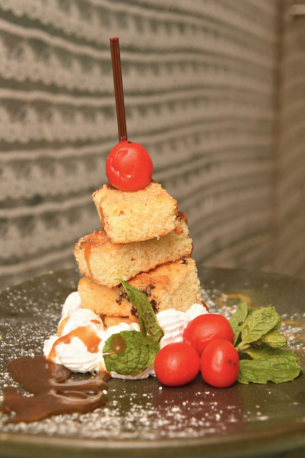 Rose Blondie with Salted Caramel Sauce