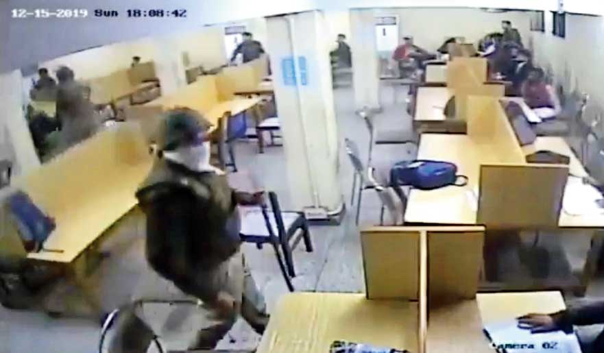 Footage from the video clip released by the Jamia Coordination Committee shows police swinging lathis overhead and landing blows on youngsters in what looks like the reading room in the Ibn-e-Sina block in the varsity. The date of the footage is December 15, 2019.