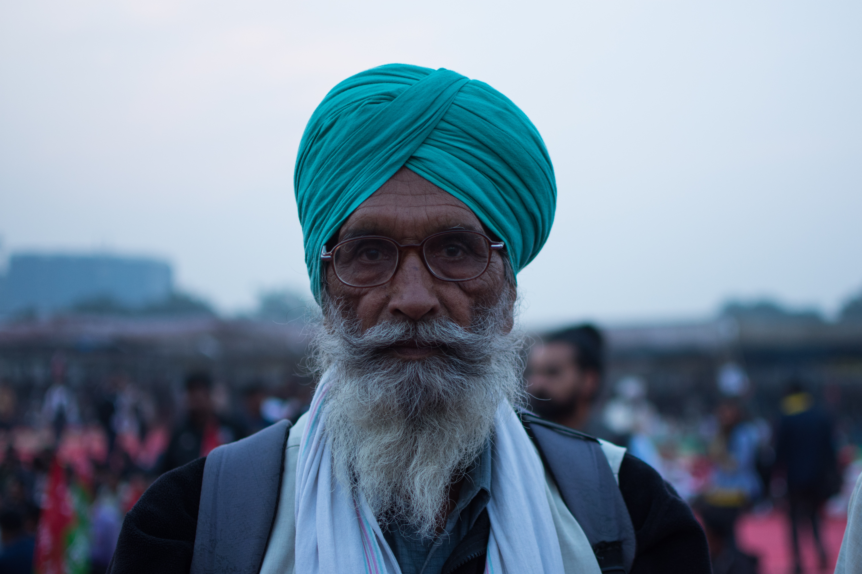 Baldev Singh, 70, among other farmers and rural labourers in New Delhi on Thursday.