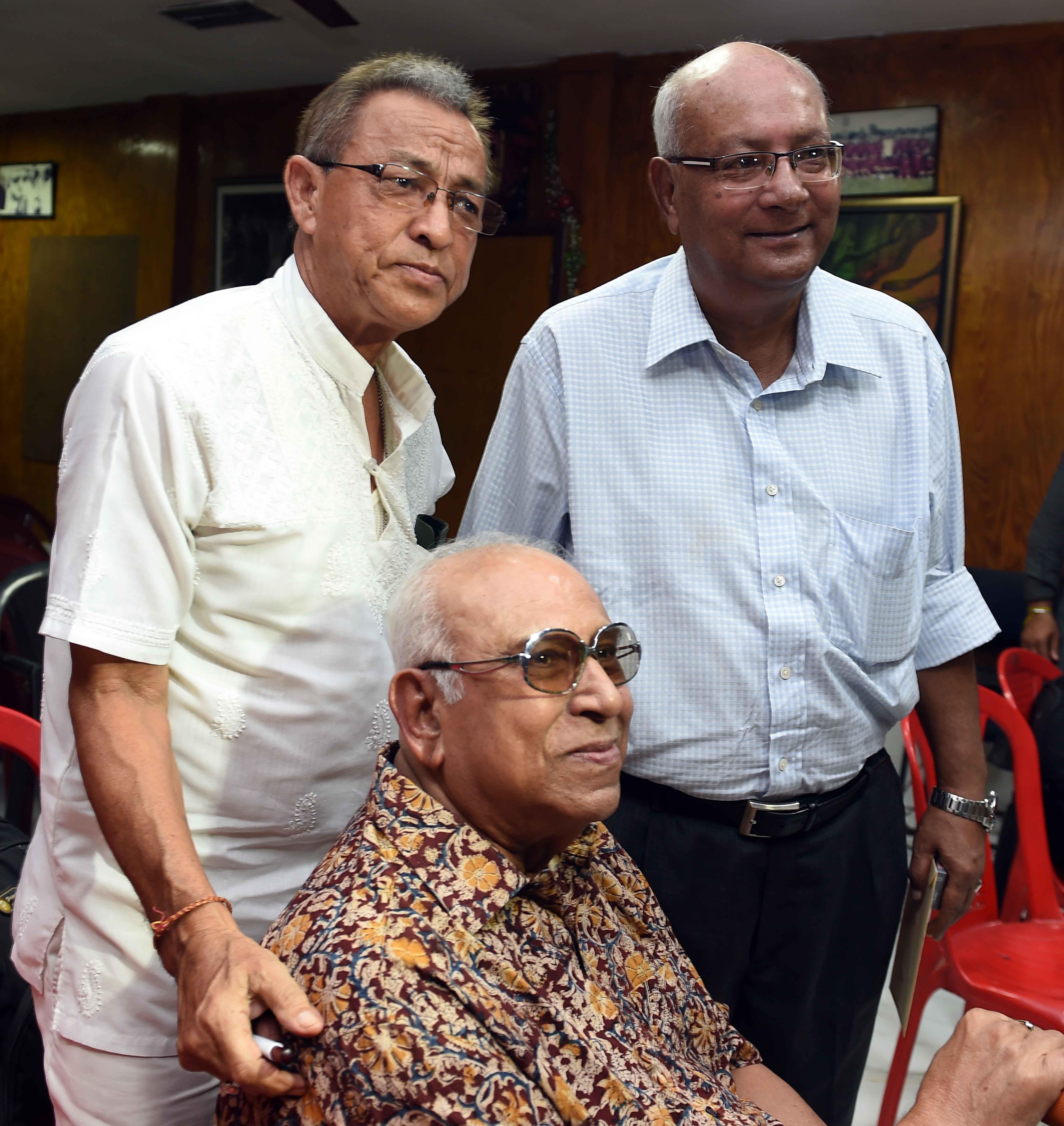 P.K. Banerjee with Shyam Thapa and Subhas Bhowmik.