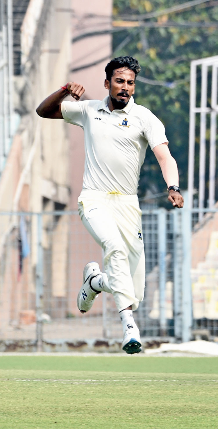 Ishan Porel celebrates after taking a wicket at the Eden on Sunday