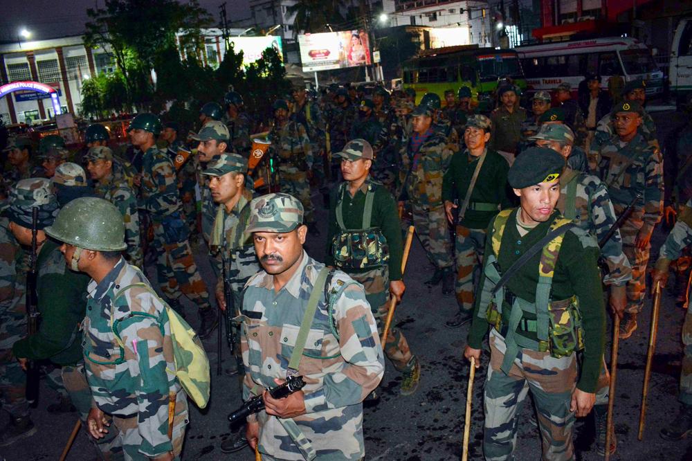 Troopers in Agartala on Wednesday