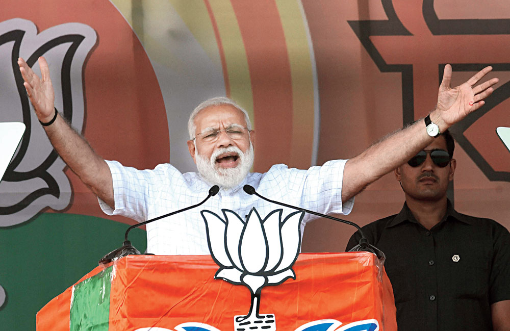 Narendra Modi at a BJP meeting in Kawakhali, Siliguri