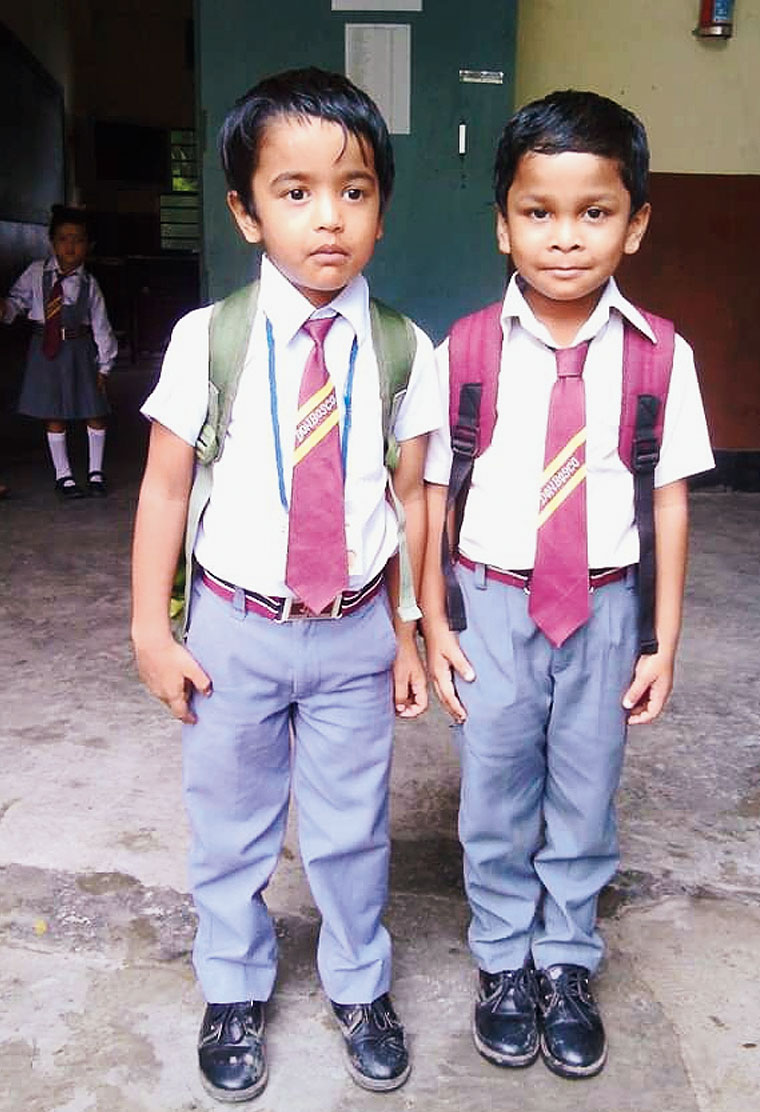 Students in a school in Tinsukia on Saturday