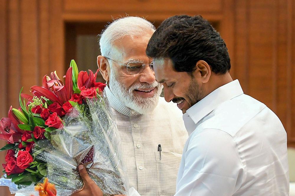 YSR Congress Party chief Jaganmohan Reddy meets PM Modi in New Delhi on Sunday, May 26, 2019.