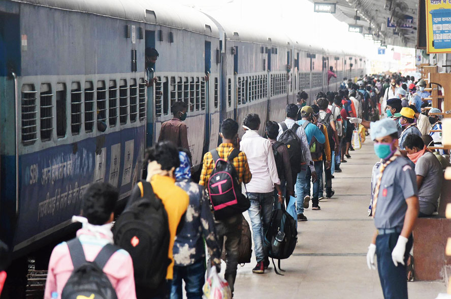 A Shramik Special train in Patna.