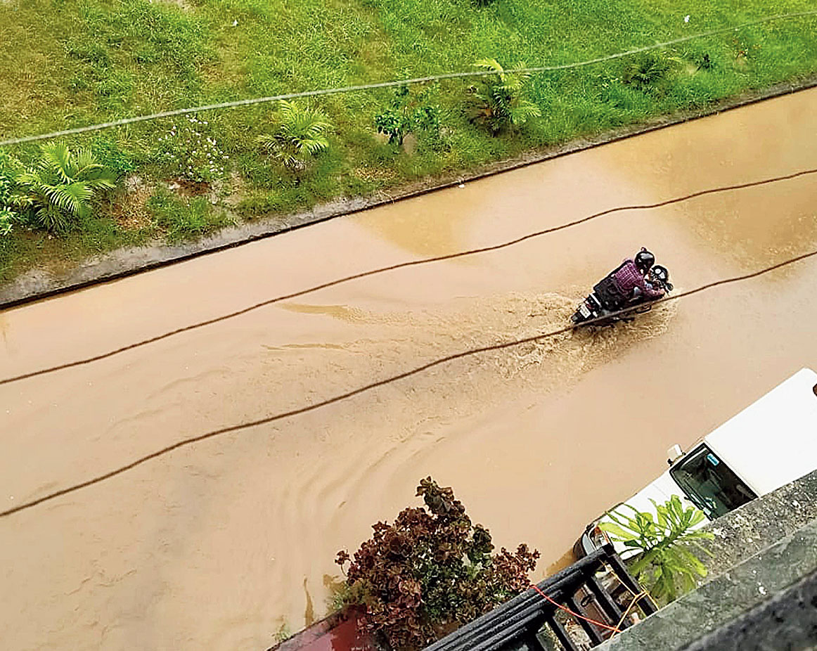 Water, water everywhere: A flooded road at Shalimar Bagh in Pundag, Ranchi, on Saturday.