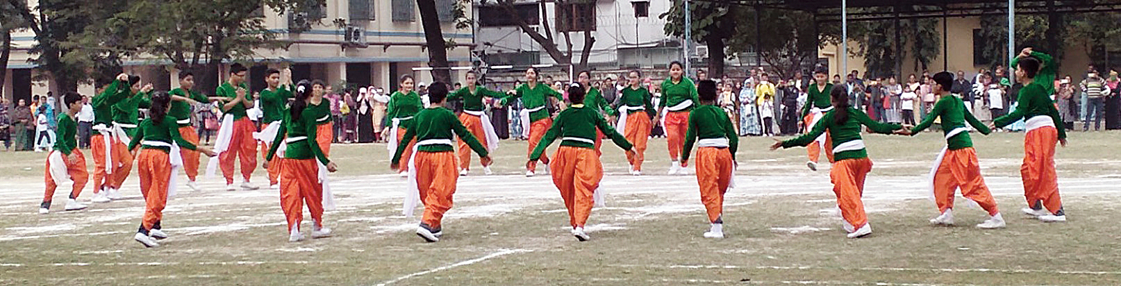 """Children perform at the """"Arise India""""-themed sports day on Wednesday."""