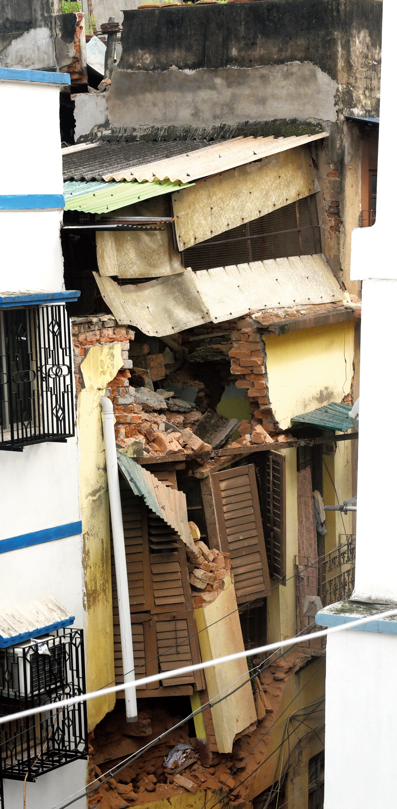 A building in Bowbazar, a portion of which collapsed on Tuesday
