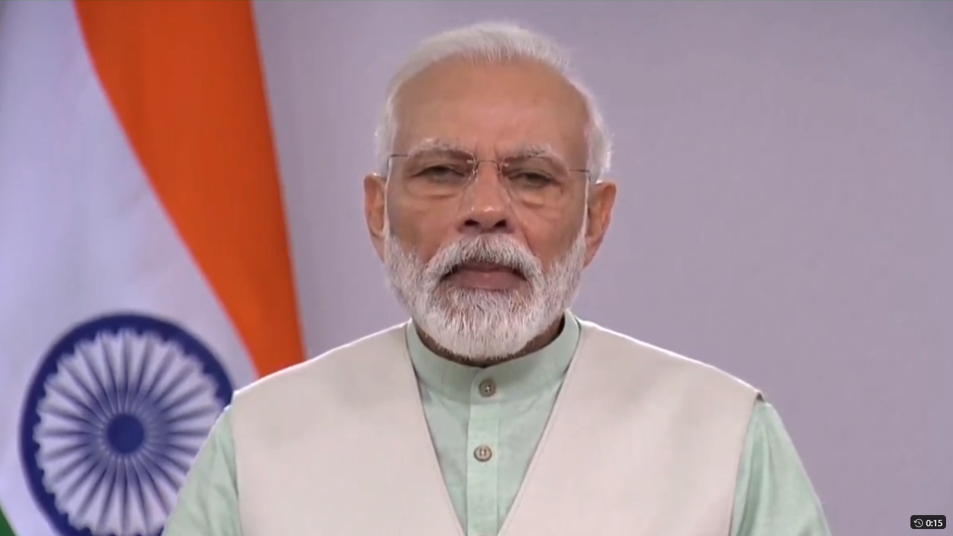 Prime Minister Narendra Modi speaks to the nation on Friday, April 3, 2020. Modi appealed to the people of India to hold a nationwide candlelight vigil at their homes this Sunday for nine minutes, beginning exactly at 9pm in a show of unity and solidarity in the fight against the covid-19 pandemic.