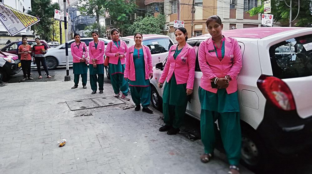 (From left) Archana Mundra, Sankari Halder, Suparna Chatterjee, Tara Samaddar, Reba Koyal and Mitu Dey of the pink cab services
