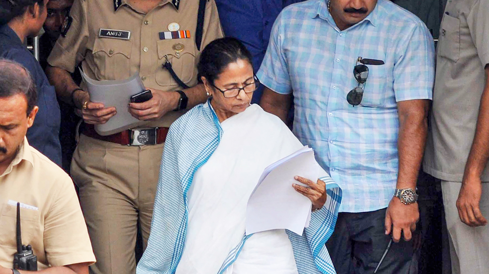 West Bengal Chief Minister Mamata Banerjee leaves after the state-level administrative review meeting at Nabanna in Howrah district on Monday, June 10, 2019.