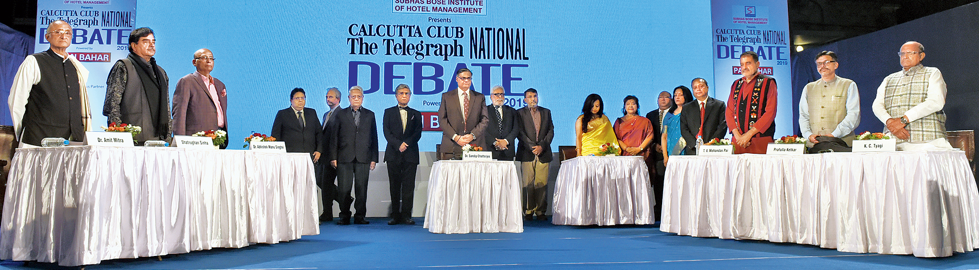 A minute's silence in memory of the troopers slain in Pulwama being observed at the start of the The Telegraph National Debate 2019 on the Calcutta Club lawns on Sunday evening.