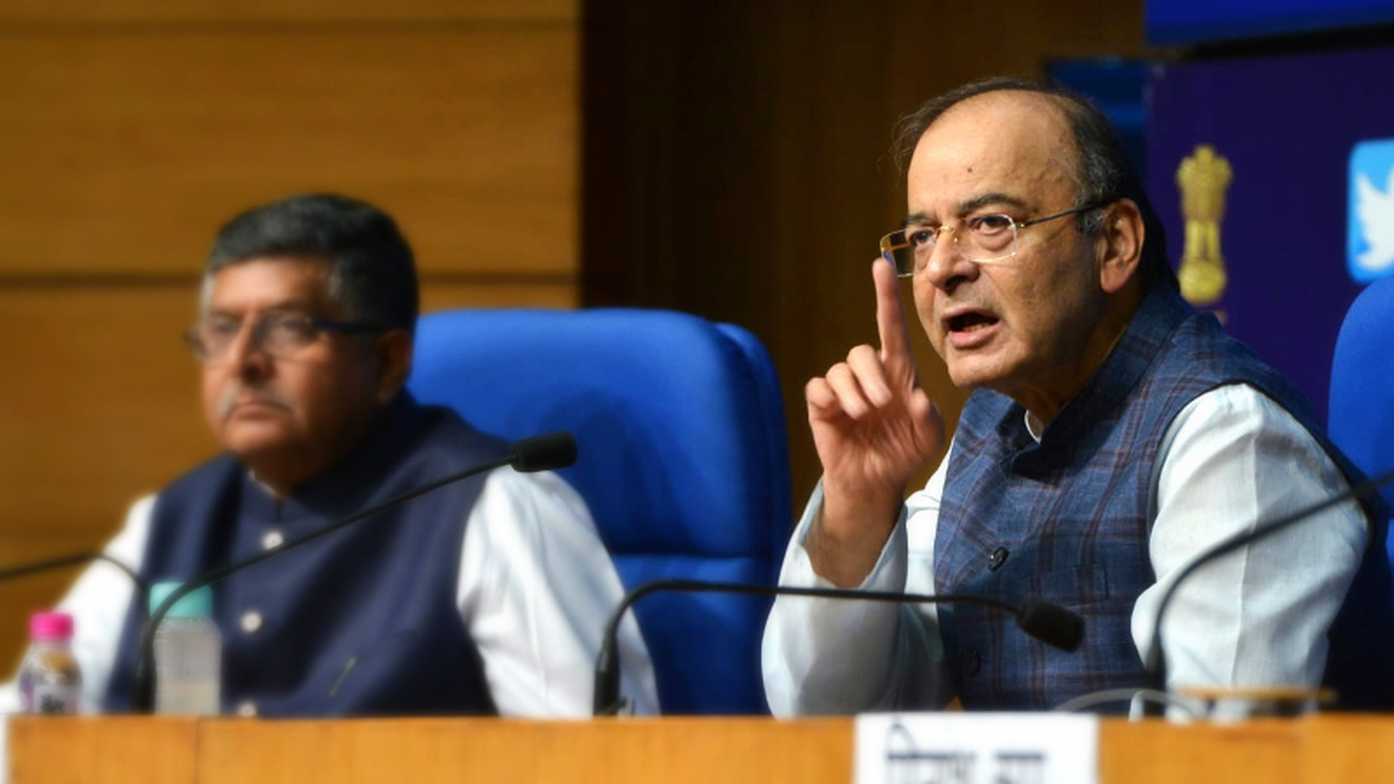 Arun Jaitley and Ravi Shankar Prasad address a media conference in defence of the the government's decision to bench CBI director Alok Verma