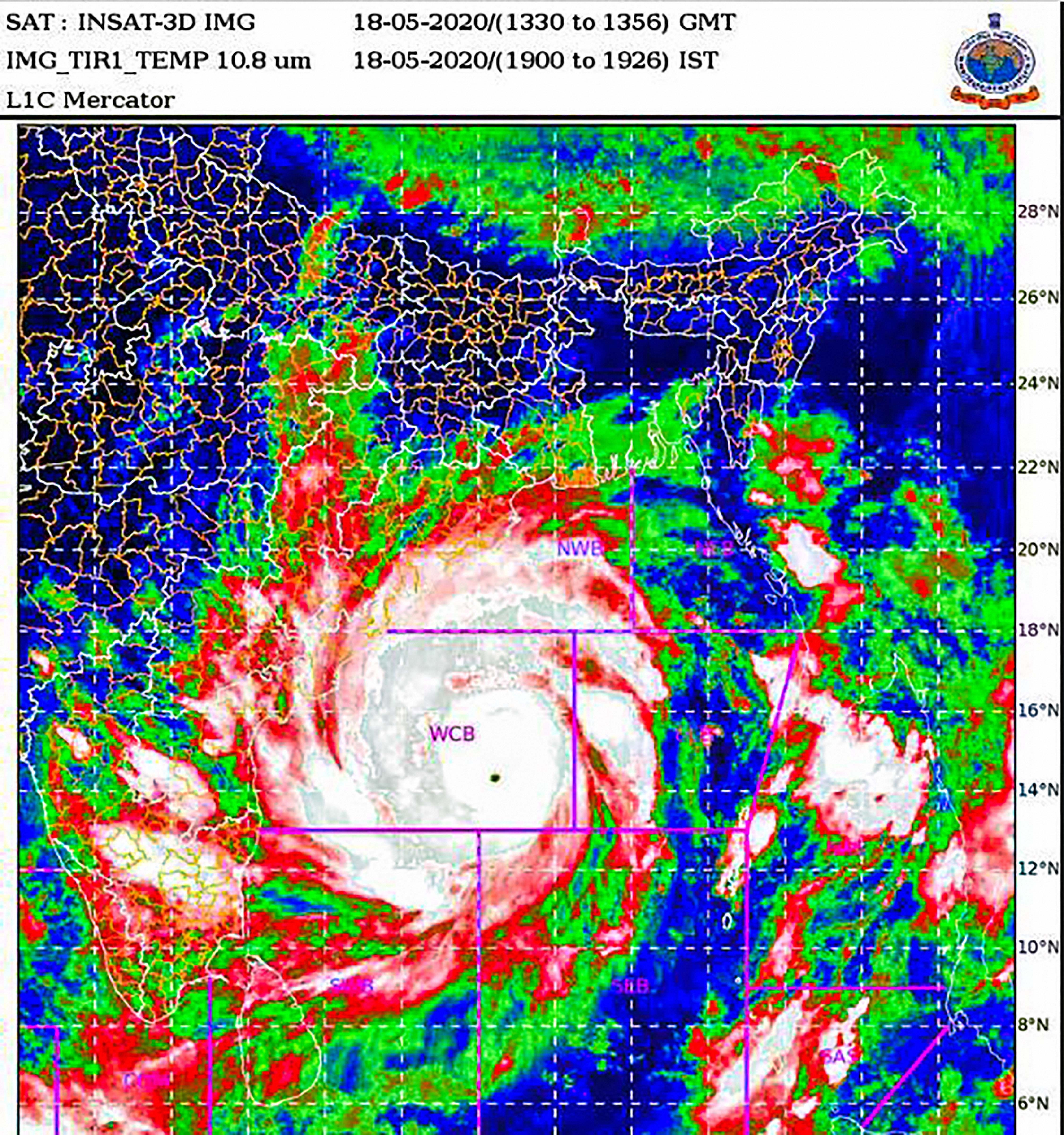Super Cyclone Amphan over west-central Bay of Bengal, lay centered at 1730 hrs IST of today, over west-central Bay of Bengal near latitude 14.0°N and longitude 86.3 °E, about 700 km nearly south of Paradip (Odisha).